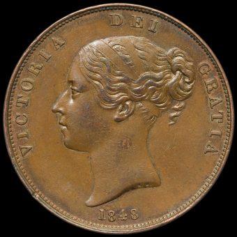 1848 Queen Victoria Young Head Copper Penny Obverse