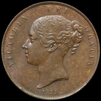 1853 Queen Victoria Young Head Copper Penny Obverse