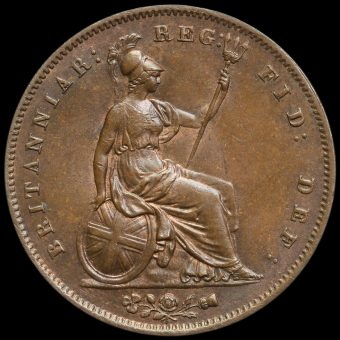 1853 Queen Victoria Young Head Copper Penny Reverse