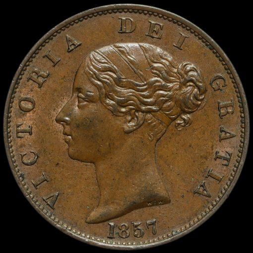 1857 Queen Victoria Young Head Copper Halfpenny Obverse