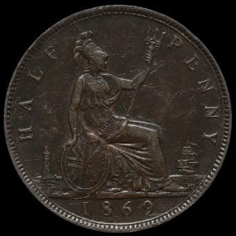 1869 Queen Victoria Bun Head Halfpenny Reverse