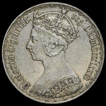 1885 Queen Victoria Gothic Florin Obverse