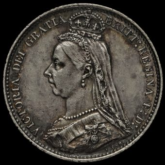 1887 Queen VictoriaJubilee Head Silver Wreath Sixpence Obverse