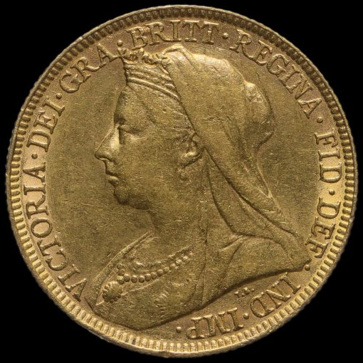 1893 Queen Victoria Veiled Head Gold Full Sovereign Obverse
