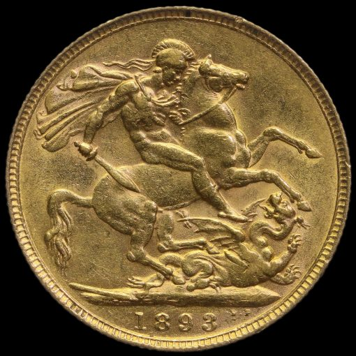 1893 Queen Victoria Veiled Head Gold Full Sovereign Reverse