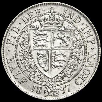 1897 Queen Victoria Veiled Head Silver Half Crown Reverse