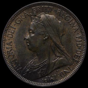 1899 Queen Victoria Veiled Head Halfpenny Obverse