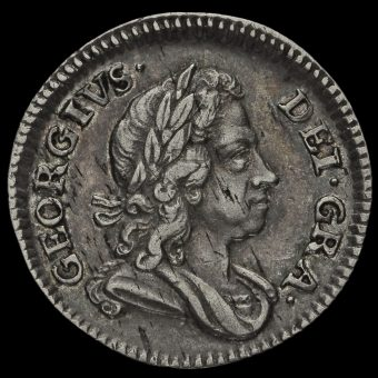 1717 George I Early Milled Silver Maundy Threepence Obverse