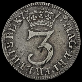 1717 George I Early Milled Silver Maundy Threepence Reverse