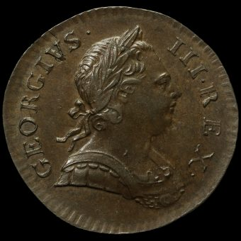 1773 George III Early Milled Copper Halfpenny Obverse