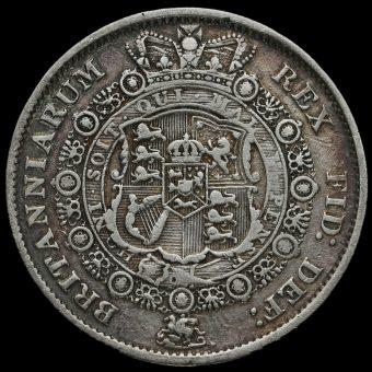 1816 George III Milled Silver 'Bull Head' Half Crown Reverse