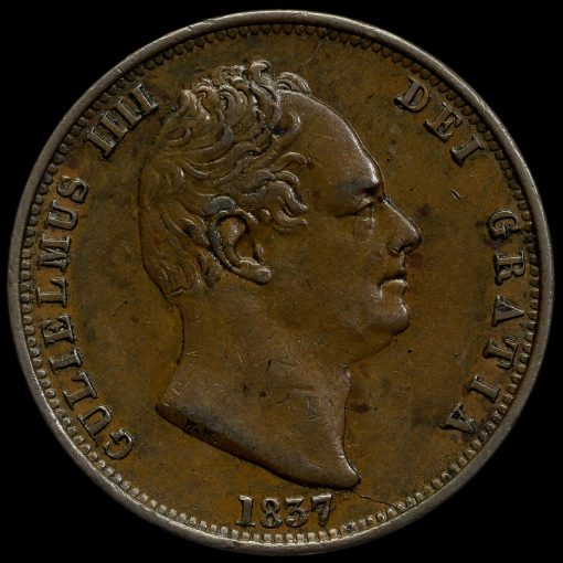 1837 William IV Milled Copper Halfpenny Obverse