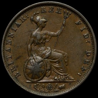 1837 William IV Milled Copper Halfpenny Reverse
