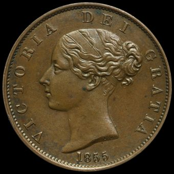 1855 Queen Victoria Young Head Copper Halfpenny Obverse