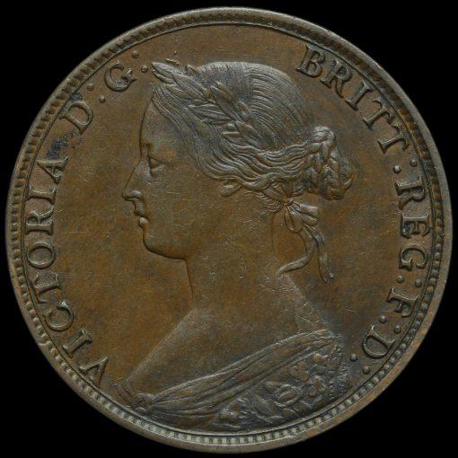 1864 Queen Victoria Bun Head Halfpenny Obverse