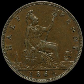 1864 Queen Victoria Bun Head Halfpenny Reverse