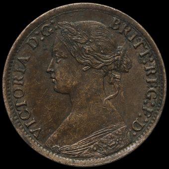 1865 Queen Victoria Bun Head Farthing Obverse