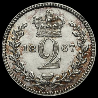1867 Queen Victoria Young Head Silver Maundy Twopence Reverse