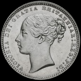 1874 Queen Victoria Young Head Silver Shilling Obverse