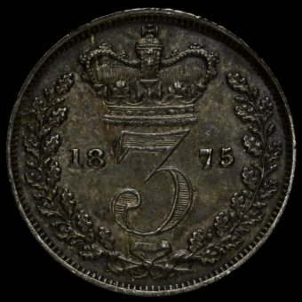 1875 Queen Victoria Young Head Silver Threepence Reverse