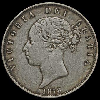 1878 Queen Victoria Young Head Silver Half Crown Obverse