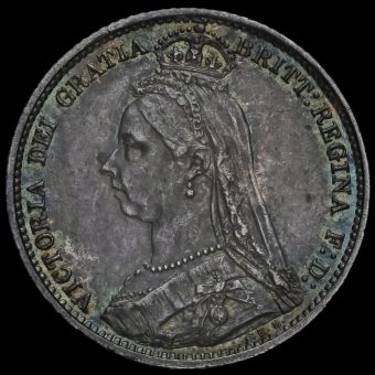 1888 Queen VictoriaJubilee Head Silver Sixpence Obverse