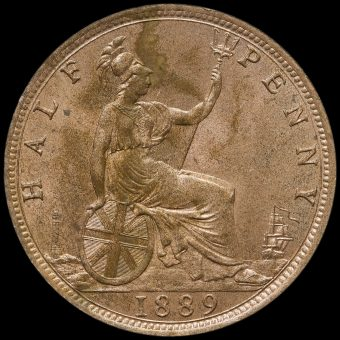 1889 Queen Victoria Bun Head Halfpenny Reverse