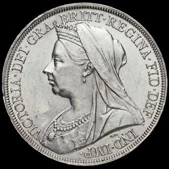 1896 Queen Victoria Veiled Head LX Crown Obverse