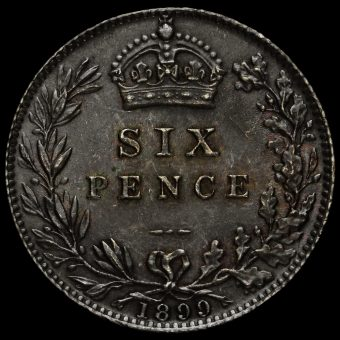 1899 Queen Victoria Veiled Head Silver Sixpence Reverse