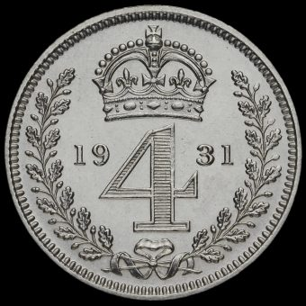 1931 George V Silver Maundy Fourpence Reverse