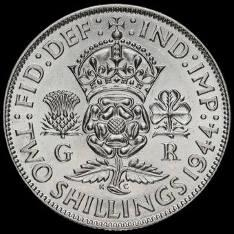 1944 George VI Silver Two Shilling Coin / Florin Reverse