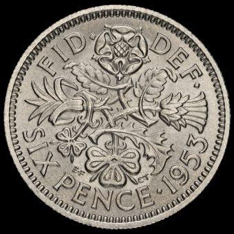 1953 Elizabeth II Sixpence Reverse