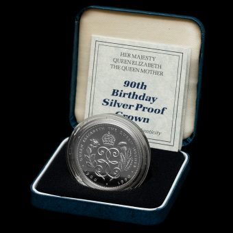 1990 Queen Mother 90th Birthday Silver Proof Crown