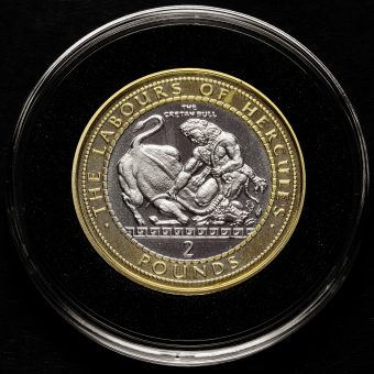 Gibraltar 2020 Labours of Hercules, The Cretan Bull Two Pound £2 Coin Reverse