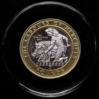 Gibraltar 2020 Labours of Hercules, The Erymanthian Boar Two Pound £2 Coin Reverse
