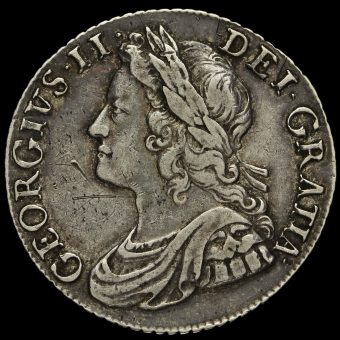 1741 George II Early Milled Silver Shilling Obverse