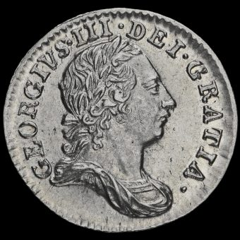 1763 George III Early Milled Silver Maundy Threepence Obverse
