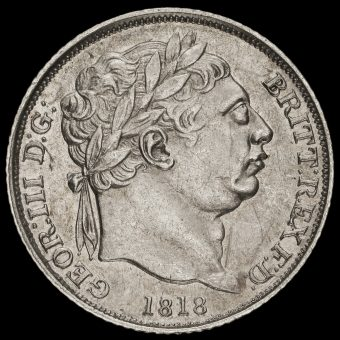 1818 George III Milled Silver Sixpence Obverse