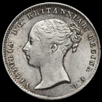 1856 Queen Victoria Young Head Silver Threepence Obverse
