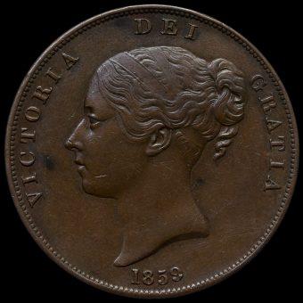 1859 Queen Victoria Young Head Copper Penny Obverse