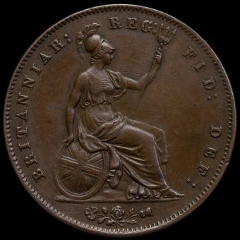 1859 Queen Victoria Young Head Copper Penny Reverse
