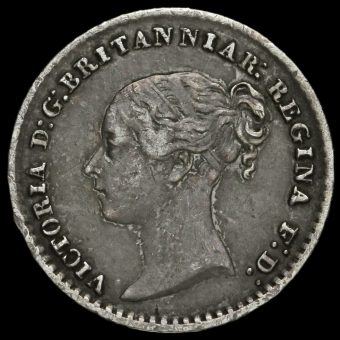 1872 Queen Victoria Young Head Silver Maundy Penny Obverse