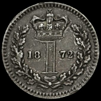 1872 Queen Victoria Young Head Silver Maundy Penny Reverse