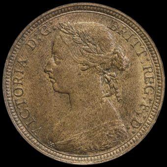 1889 Queen Victoria Bun Head Halfpenny Obverse