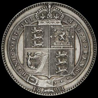 1891 Queen Victoria Jubilee Head Silver Shilling Reverse