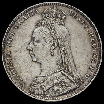 1892 Queen Victoria Jubilee Head Silver Shilling Obvverse