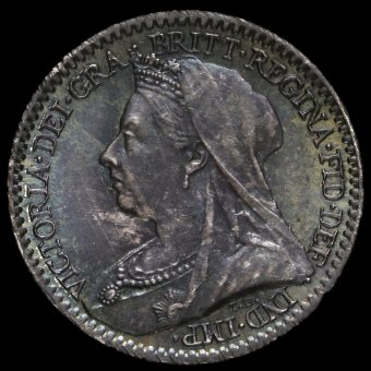 1898 Queen Victoria Veiled Head Silver Maundy Penny Obverse