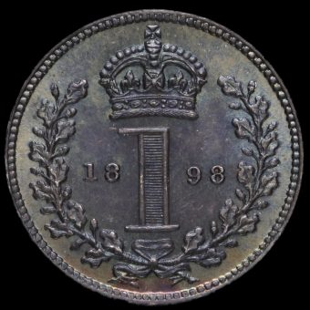 1898 Queen Victoria Veiled Head Silver Maundy Penny Reverse