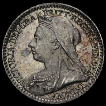 1899 Queen Victoria Veiled Head Silver Maundy Penny Obverse