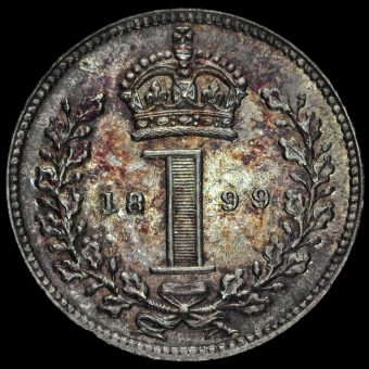 1899 Queen Victoria Veiled Head Silver Maundy Penny Reverse